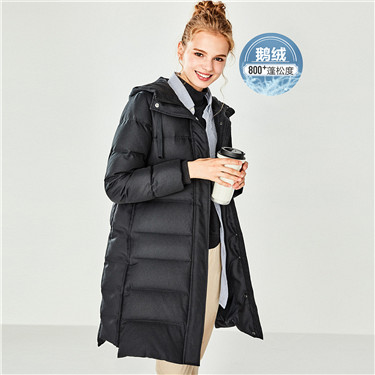 Grey goose down hood mid-long down jacket
