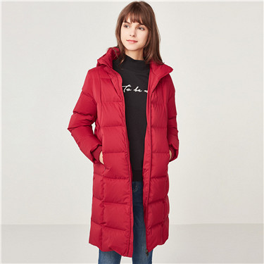 Detachable mid-long grey goose down jacket