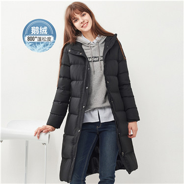 Mid-long hooded grey goose down jacket