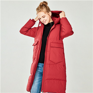 Machine washable hooded long down jacket