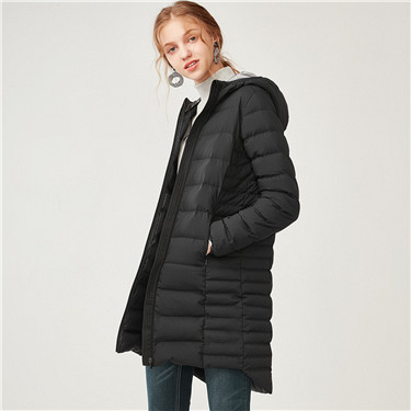 90% white goose down long hooded down jacket
