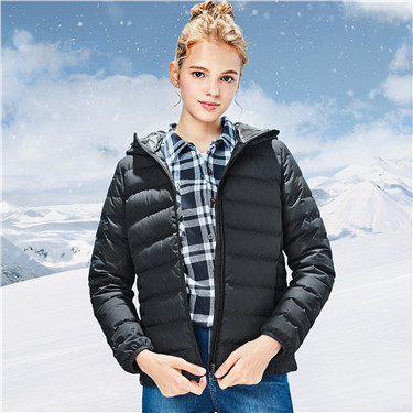 90% white goose down hood lightweight down jacket