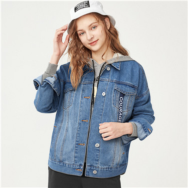 Letter-printed tape denim jacket