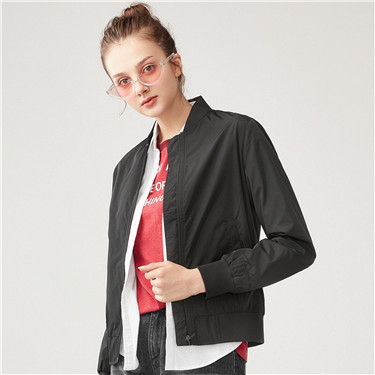 Embroidered letter stand collar thin jacket