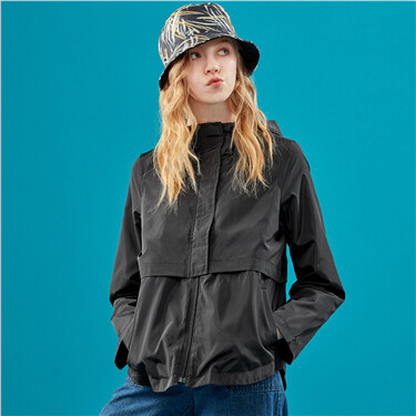 Hooded loose windbreaker