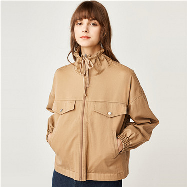 Drawstring stand collar thin jacket