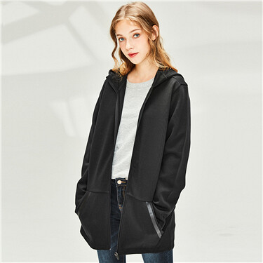 Kanga pocket mid-long hooded j