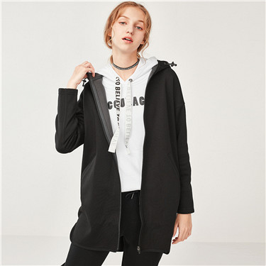 Fleeced hooded long sweatshirt coat