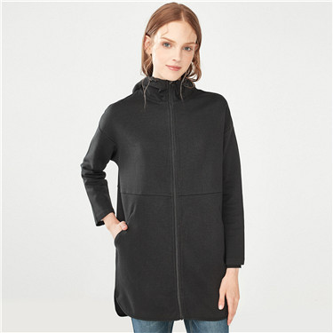 Interlocked hooded long sweatshirt coat
