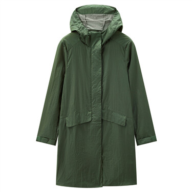 Solid colour long hooded jacket