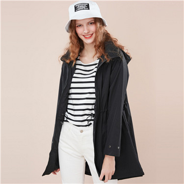 Banded-waist hooded long-sleeve windbreaker