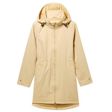 Banded-waist hooded long-sleeve windbreaker