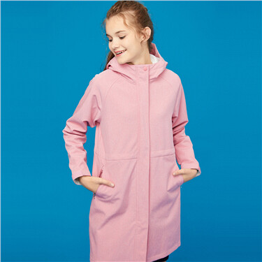 Embroidery fleece hooded trench