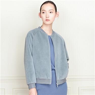 Solid faux fur long-sleeve coat