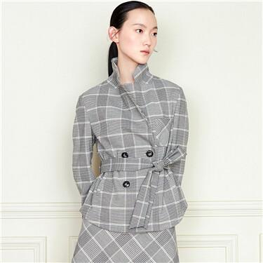 Plaid lace-up flat collar suit