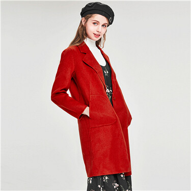 Suit collar single button double knit woolen coat