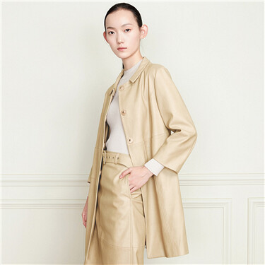 Faux lambskin turn-down collar mid-long jackets