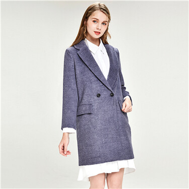 Suit collar mid-long woolen coat