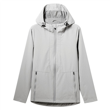 Hooded zip-front windbreaker