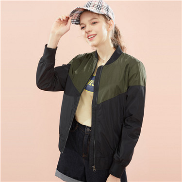 Baseball collar contrast-color bomber jacket