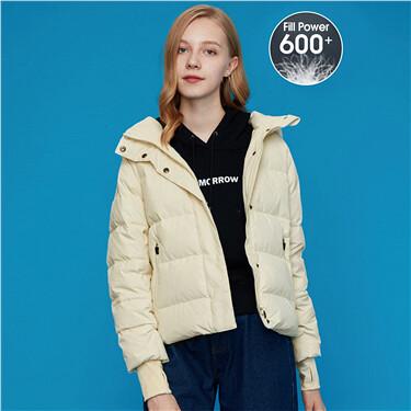 Detachable hooded 90% grey duck down jacket
