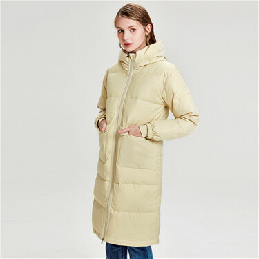 Mid-long hooded 90% down jacket