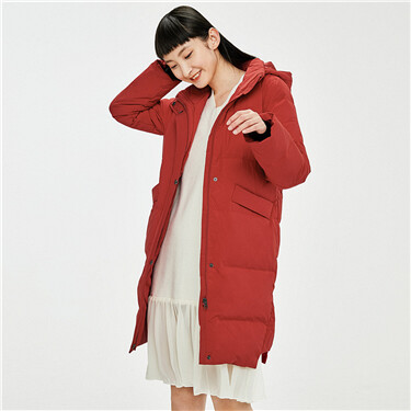 Machine washable longer hem at back down jacket