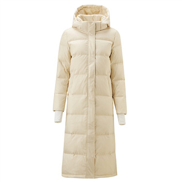 Detachable hooded 90% goose down long jacket