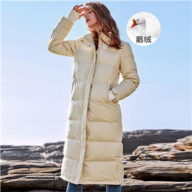 Detachable hooded 90% goose down long jacket