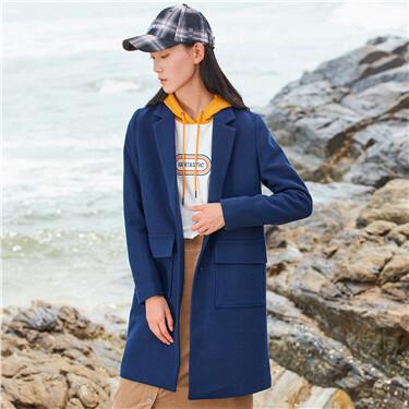 V-neck turn-down collar wool coats
