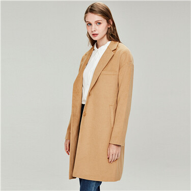 V-neck turn-down collar wool coat