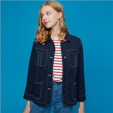 Cotton 3D pockets turn-down collar jacket