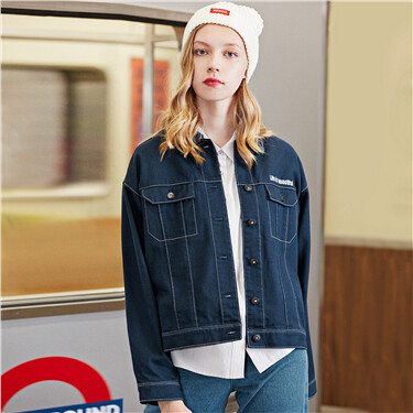 Embroidery cargo flap pockets jacket
