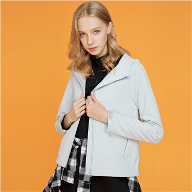 Fleece-lined raglan sleeves hooded jacket