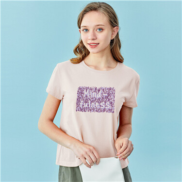Letter Print Cotton Round Neck Short Sleeve T-Shirt