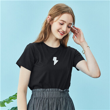 Letter Patterns Crew Neck Short Sleeve Tee