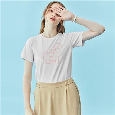 Printed Cotton Crew Neck Short Sleeve Tee