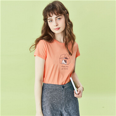 Printed cotton crewneck short-sleeve tee