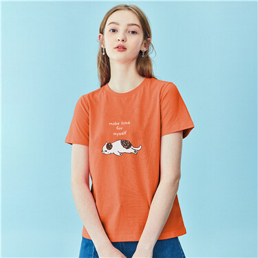 Printed cotton crewneck short-