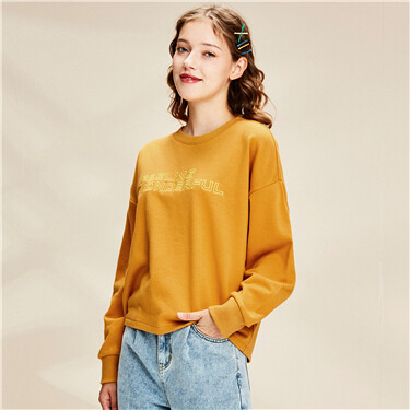 Embroidery Dropped-shoulder Loose Crew Neck Sweatshirt