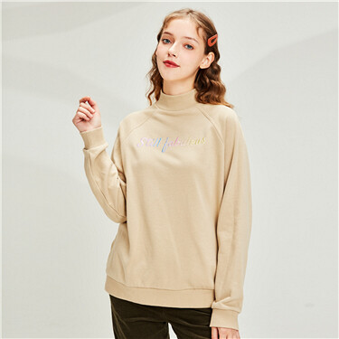 Gradient Embroidery horn sleeves mockneck sweatshirt