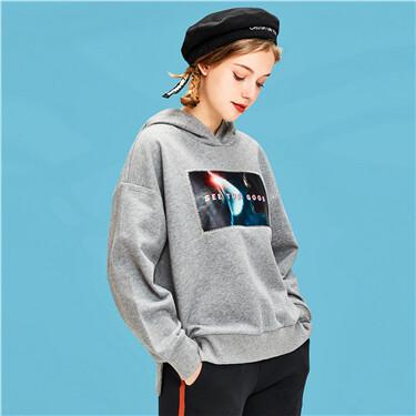 Printed loose hoodie