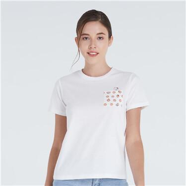 女裝貓貓之旅純棉印花短袖T恤