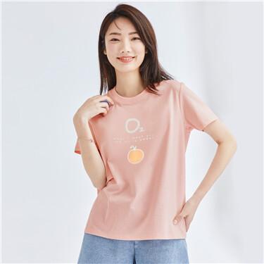 女裝純棉可愛印花圓領短袖T恤