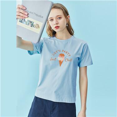 夏日主题印花纯棉圆领短袖T恤