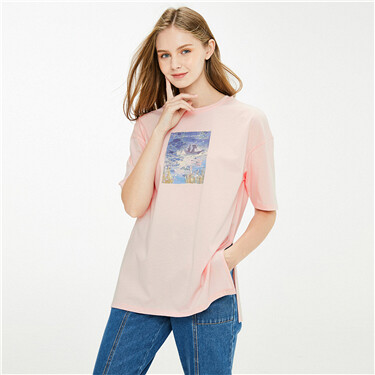 Printed loose crewneck short-sleeve tee