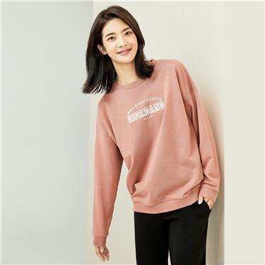 Printed loose dropped-shoulder sweatshirt