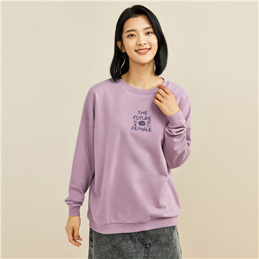 Letter printed loose crewneck sweatshirt