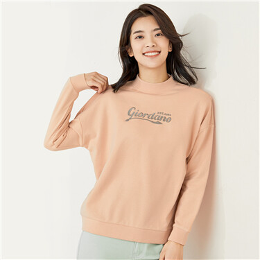 Letter embroidery dropped-shoulder sweatshirt