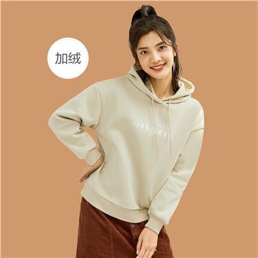 Printed fleece-lined long-sleeve hoodie